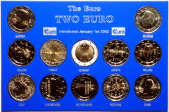 Set of 12 x 2 Euro Coins