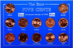 Set of 5 Euro Cent from all 12 Eurozone Countries