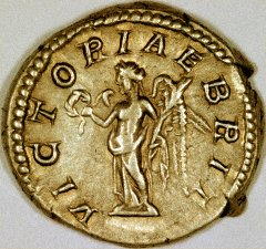 VICTORIA BRIT on Reverse of Geta Silver Denarius