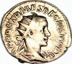 Portrait of Herennius Etruscus on a Silver Antoninianus