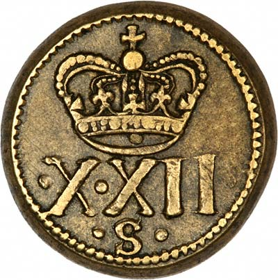 X XII S on Reverse of James II Brass Weight
