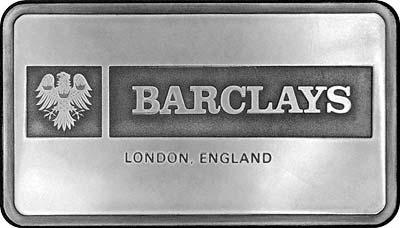Obverse of Barclays Bank Silver Ingot