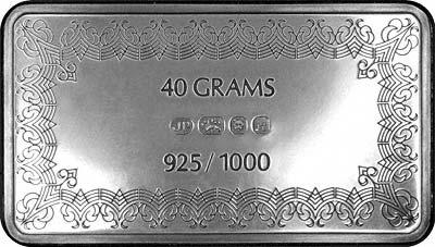 Reverse of Silver Ingot - First International Bank Silver Ingot Collection