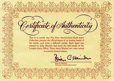 First International Bank Silver Ingot Collection Certificate