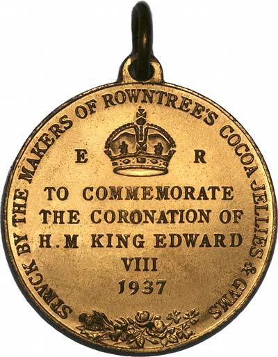 Inscription on Reverse of 1937 Edward VIII Coronation Medallion