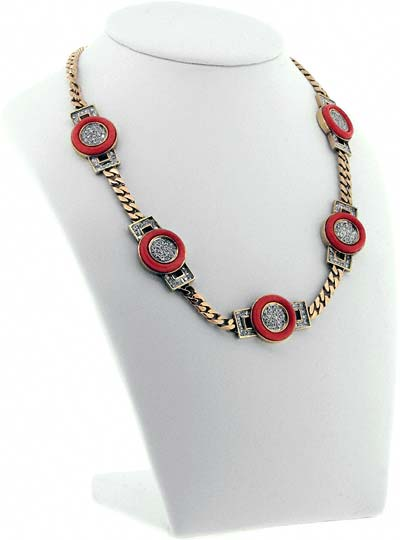 Coral and Diamond 'Art Deco' Necklace