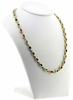 Multi-coloured Gem Set Necklace