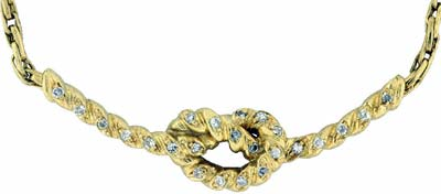 18ct Yellow Gold Diamond Set Knot Necklace