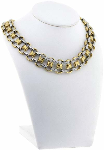 Two Colour Diamond Set Necklace in 18ct Gold