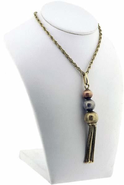 Tri Colour Tassel Necklace in 9ct Gold