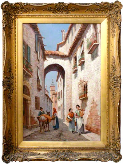 Oil Painting by Trevor Haddon - A Backstreet in an Italian Village