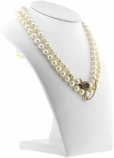 Cultured Pearl Necklet with Ruby and Diamond Clasp