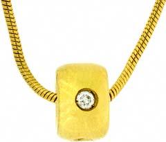 Diamond Bead Pendant in 18ct Yellow Gold