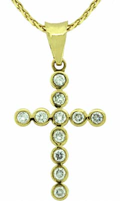 18ct Yellow Gold Diamond Set Cross