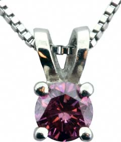 Enhanced Rose Pink Diamond Solitaire Pendant
