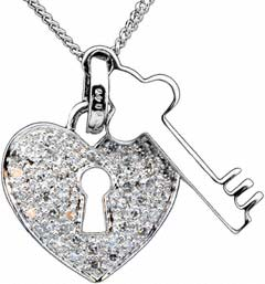 18ct White Gold Heart Padlock and Key Pendant
