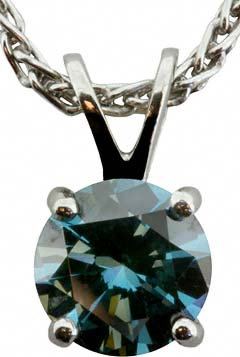 Enhanced Blue Diamond Solitaire Pendant