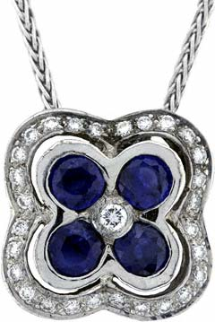 Square Sapphire and Diamond Pendant