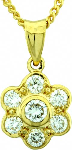0.36ct Cluster Pendant in 18ct Yellow Gold
