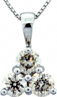0.83ct Princess Cut Diamond Pendant in 18ct White Gold