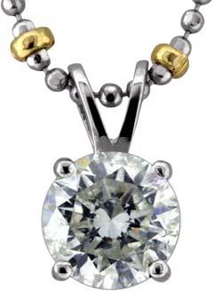 1.18ct Modern Brilliant Diamond Pendant in 18ct White Gold