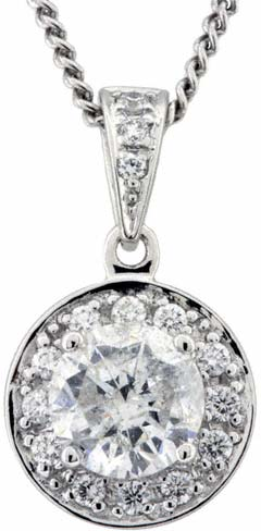 1.02ct Cluster Pendant in 18ct White Gold