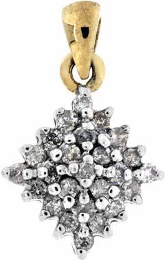 0.25 Diamond Cluster Pendant in 9ct Yellow Gold