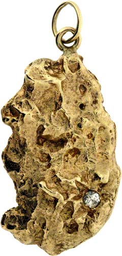 Diamond Set Gold Nugget in 9ct Gold