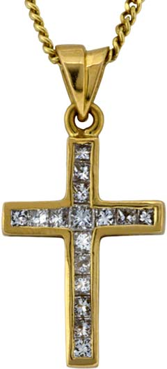 Diamond Set Cross in 18ct Gold