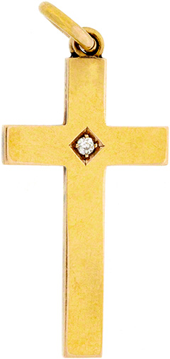Second Hand 15ct Gold Diamond Set Cross