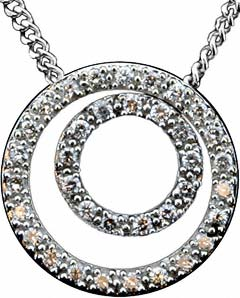 18ct White Gold Double Circle Pendant