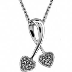 Diamond Set Heart Pendant in White Gold