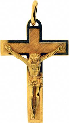 White and Yellow Gold Fancy Cross
