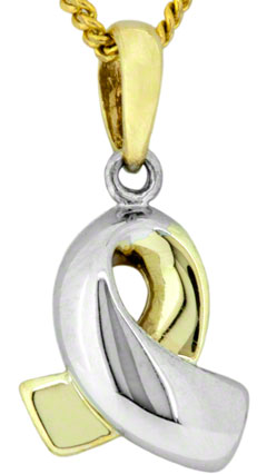 9ct Two Colour Gold Ribbon Loop Pendant