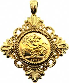 Gold pendants from chard jewellers online catalogue fancy diamond shaped half sovereign pendant aloadofball Images