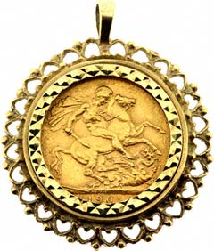 Gold pendants from chard jewellers online catalogue fancy sovereign pendant aloadofball Images