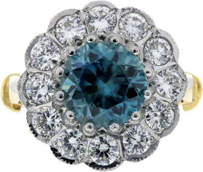 Large Blue Zircon Mounted in Centre of Cluster Ring