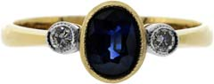Second Hand Sapphire & Diamond Three Stone Ring