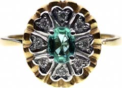Oval Emerald and Diamond Fancy Cluster