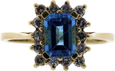 Blue Topaz and Diamond Cluster