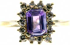 Octagon Amethyst and Diamond Dress Ring