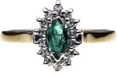 Marquise Shaped Emerald and Diamond Cluster