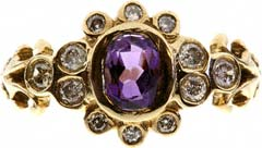 Victorian Style Amethyst and Diamond Dress Ring