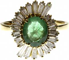 Oval Emerald with Baguette Diamonds Cluster