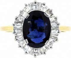 Sapphire & Diamond 'Ballerina' Ring