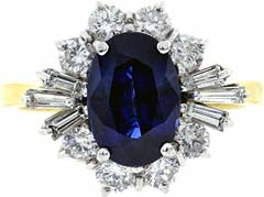 Fancy Oval Cluster with Round and Baguette Diamonds