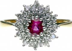 Double Row Ruby and Diamond Cluster