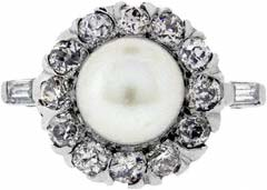 Pearl & Diamond Cluster in 14ct White Gold
