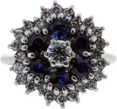 Sapphire & Diamond Three Tiered Cluster Ring