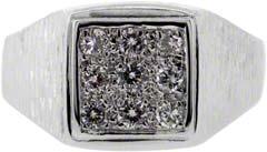 Gent's Square Set Diamond Signet Ring